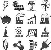 Black-and-white set of alternative energy icons