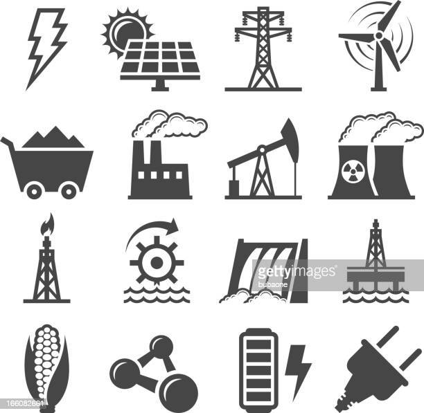 black-and-white set of alternative energy icons - nuclear energy stock illustrations