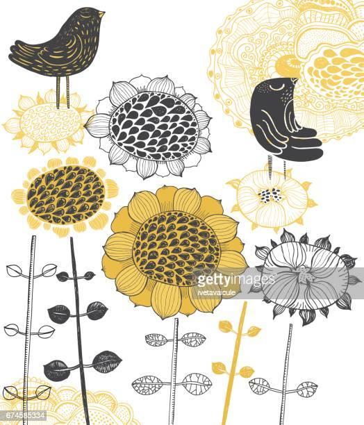ilustraciones, imágenes clip art, dibujos animados e iconos de stock de mirlos y girasoles - girasol