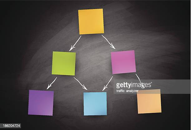 Blackboard and colorful sticky notes