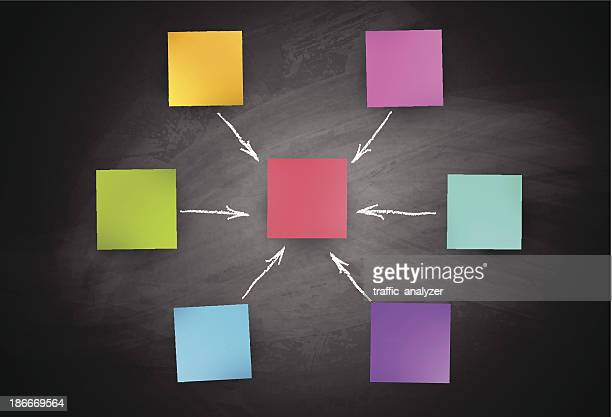 blackboard and colorful sticky notes - conspiracy stock illustrations, clip art, cartoons, & icons