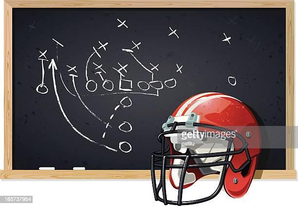 Blackboard and Football Helmet with Chalk Play