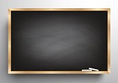 Blackboard background wooden frame, rubbed out dirty chalkboard, vector illustration