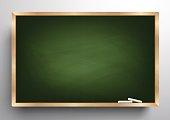 Blackboard background wooden frame, rubbed out dirty chalkboard, vector illustration