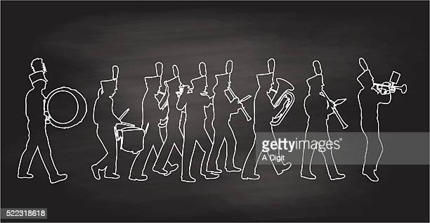 blackboard bigband - snare drum stock illustrations, clip art, cartoons, & icons