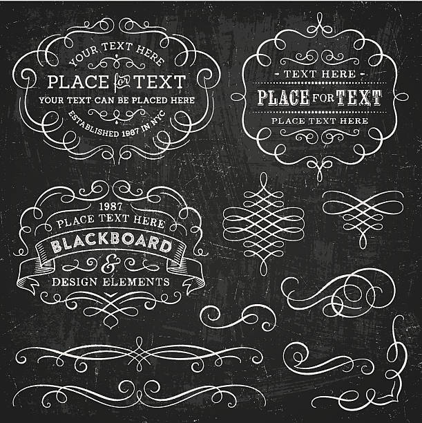 blackboard design elements - swirl stock illustrations
