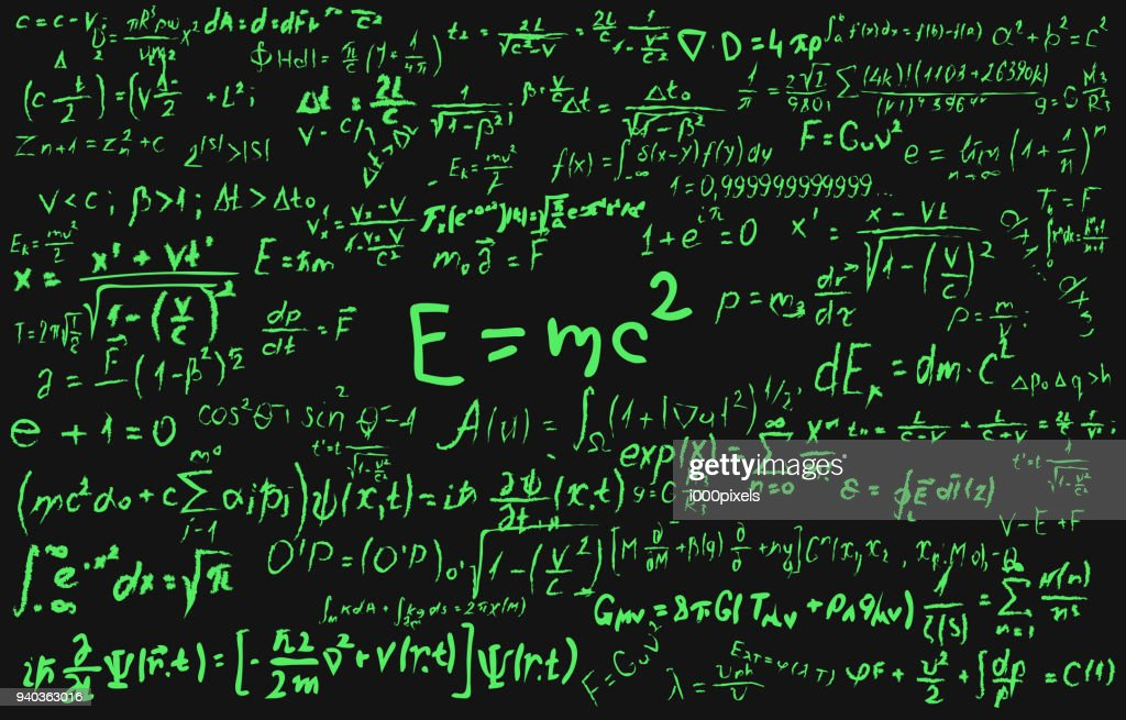 Blackboard inscribed with scientific formulas and calculations in physics and mathematics. Can illustrate scientific topics tied to quantum mechanics, relativity theory and any scientific calculations