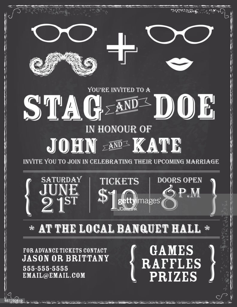 Blackboard theme stag and doe engagement party invitation design template