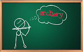 blackboard with drawing of a boy playing archery