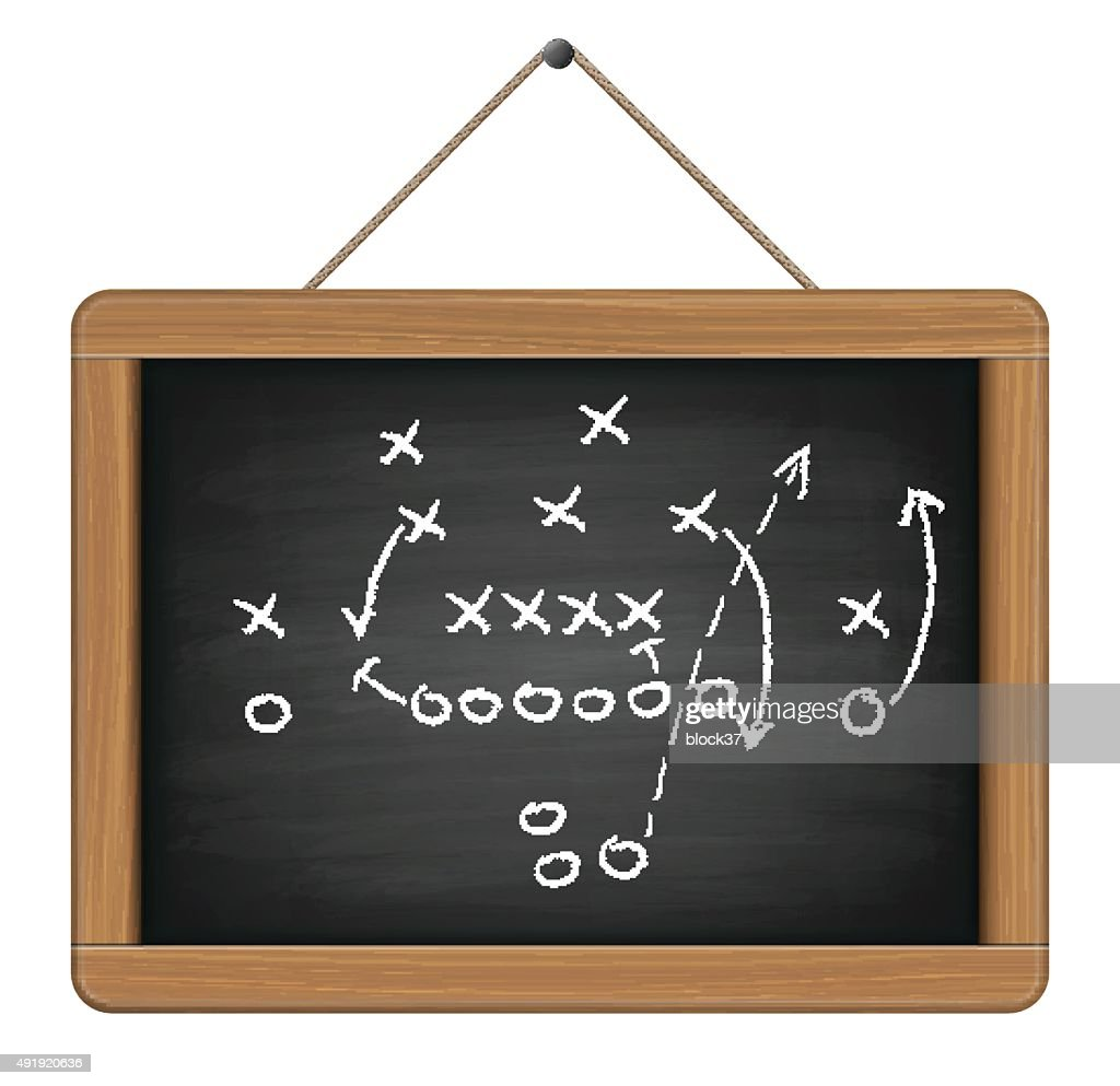 blackboard with football tactic