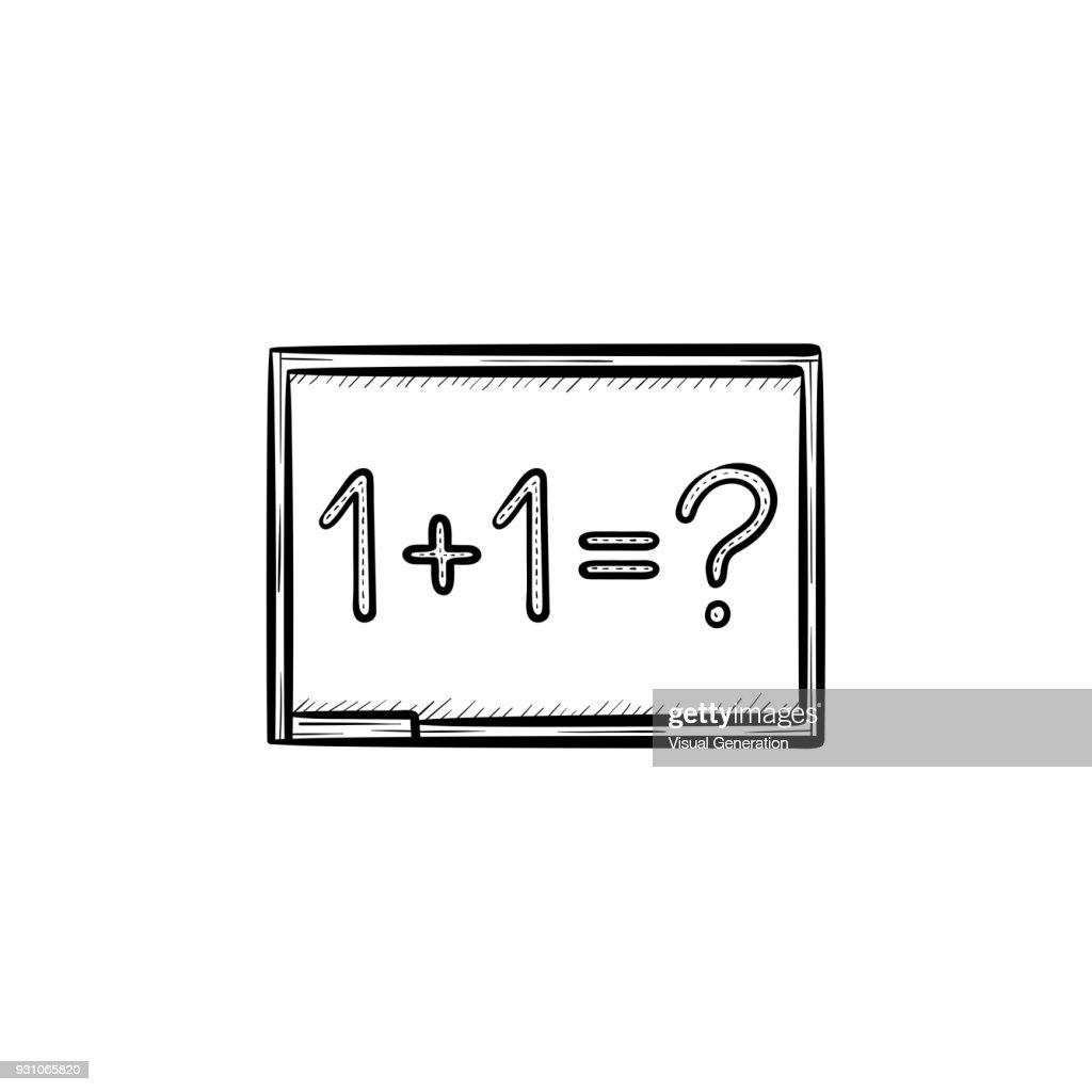 Blackboard with math task hand drawn sketch icon