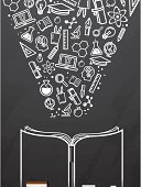 Blackboard with open book and education icons