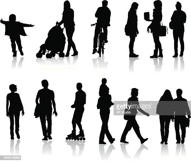 A blacked out depiction of people on the go traveling