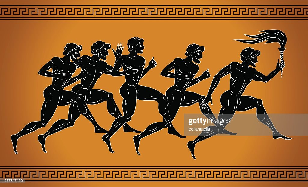 Black-figured runners with the torch. : stock illustration