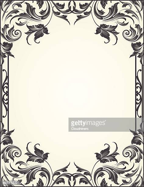 blackleaf flourish frame - art nouveau stock illustrations, clip art, cartoons, & icons