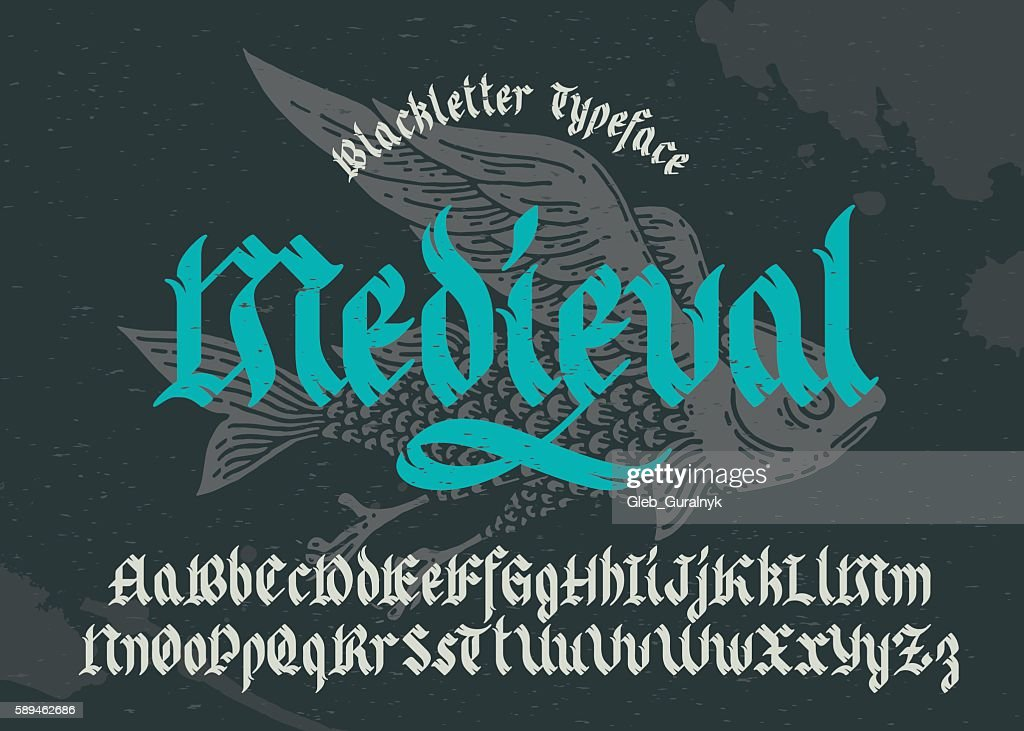 Black-letter fracture font with flying fish illustration.