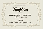 Blackletter gothic script hand-drawn font