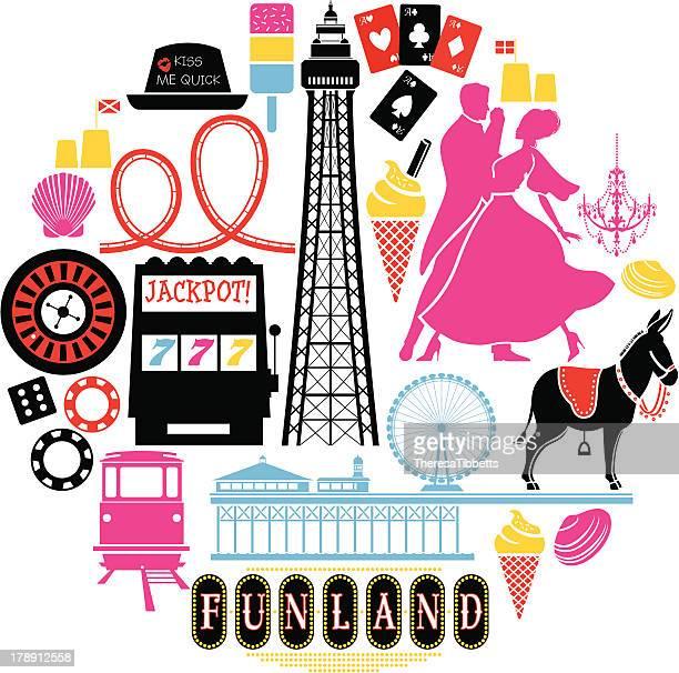 blackpool icon set - donkey stock illustrations, clip art, cartoons, & icons