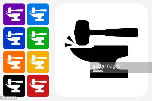 blacksmith anvil and lump hammer icon square button set - iron metal stock illustrations