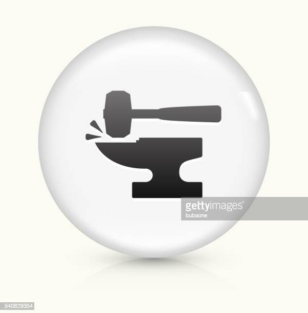 Blacksmith Anvil Hammer icon on white round vector button