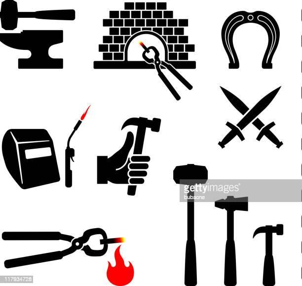ilustraciones, imágenes clip art, dibujos animados e iconos de stock de herrero blanco y negro sin royalties de conjunto de iconos vectoriales - soldar