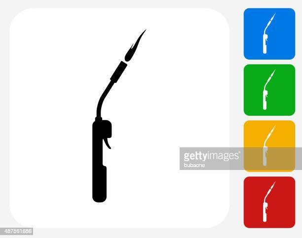 ilustraciones, imágenes clip art, dibujos animados e iconos de stock de herrero soplete iconos planos de diseño gráfico - soldar