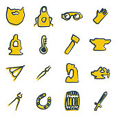 Blacksmith Icons Freehand 2 Color