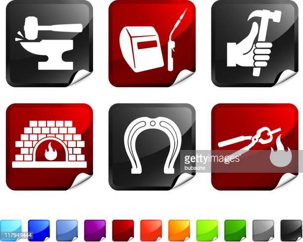 ilustraciones, imágenes clip art, dibujos animados e iconos de stock de herrero sin royalties de vector icon set pegatinas - soldar
