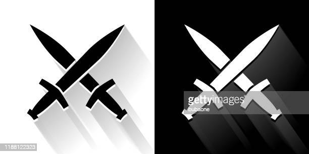 blacksmith swords  black and white icon with long shadow - dagger stock illustrations