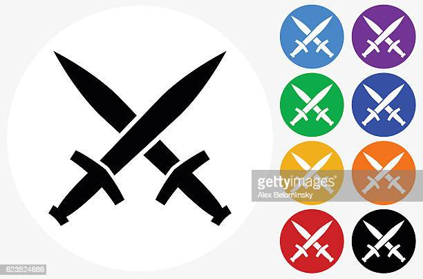 Blacksmith Swords Icon on Flat Color Circle Buttons