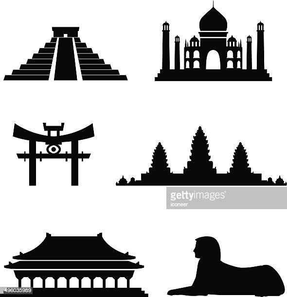 ilustrações, clipart, desenhos animados e ícones de blackstyle exótico marcos - taj mahal