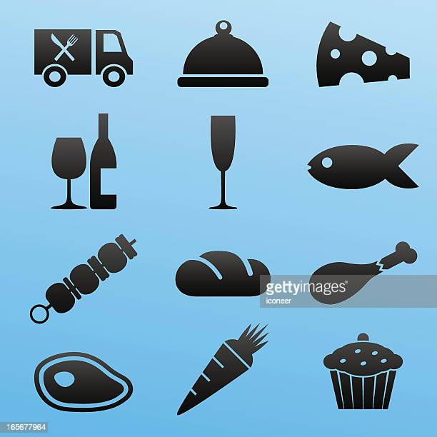blackstyle icon set food - champagne region stock illustrations, clip art, cartoons, & icons
