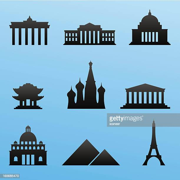 blackstyle icon set landmarks - brandenburg gate stock illustrations, clip art, cartoons, & icons