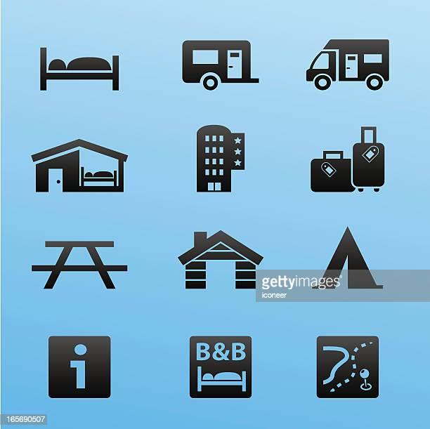 Blackstyle Icon Set Lodging and Accommodation