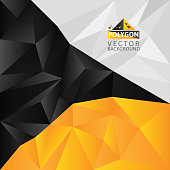 black,white and yellow, polygon abstract vector background