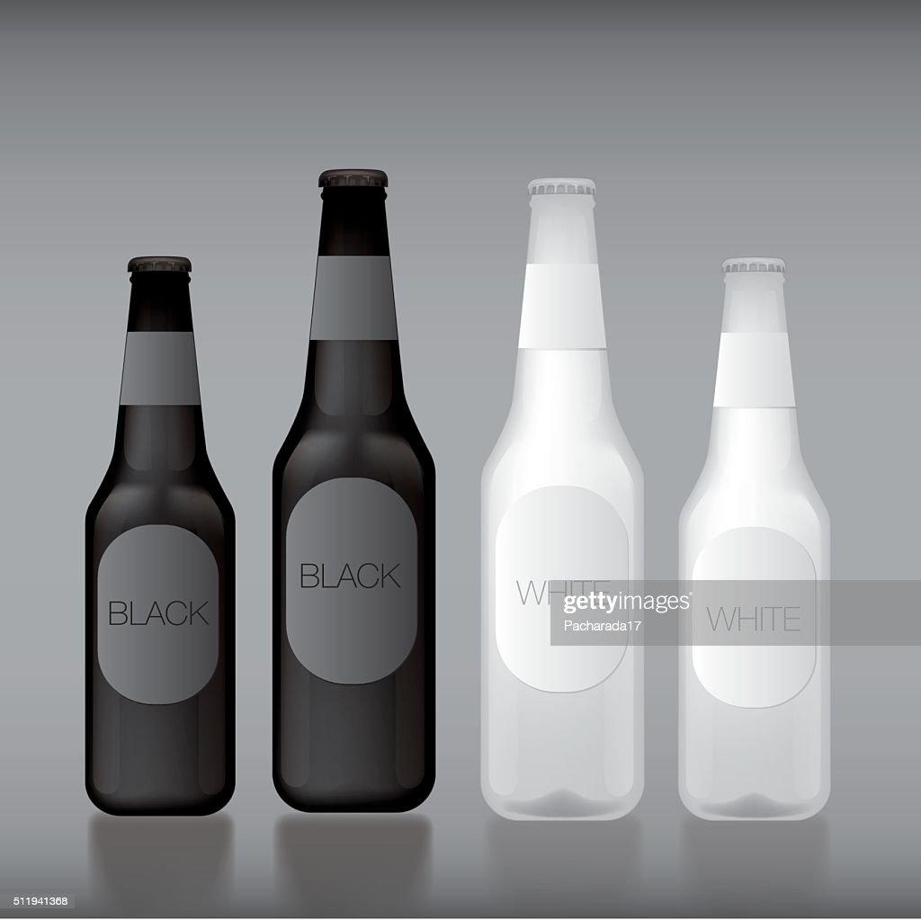 Blackwhite Template Blank Glass Bottle Vector Art
