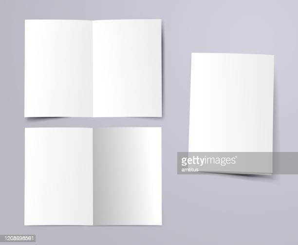 blank a4 folded paper - page stock illustrations