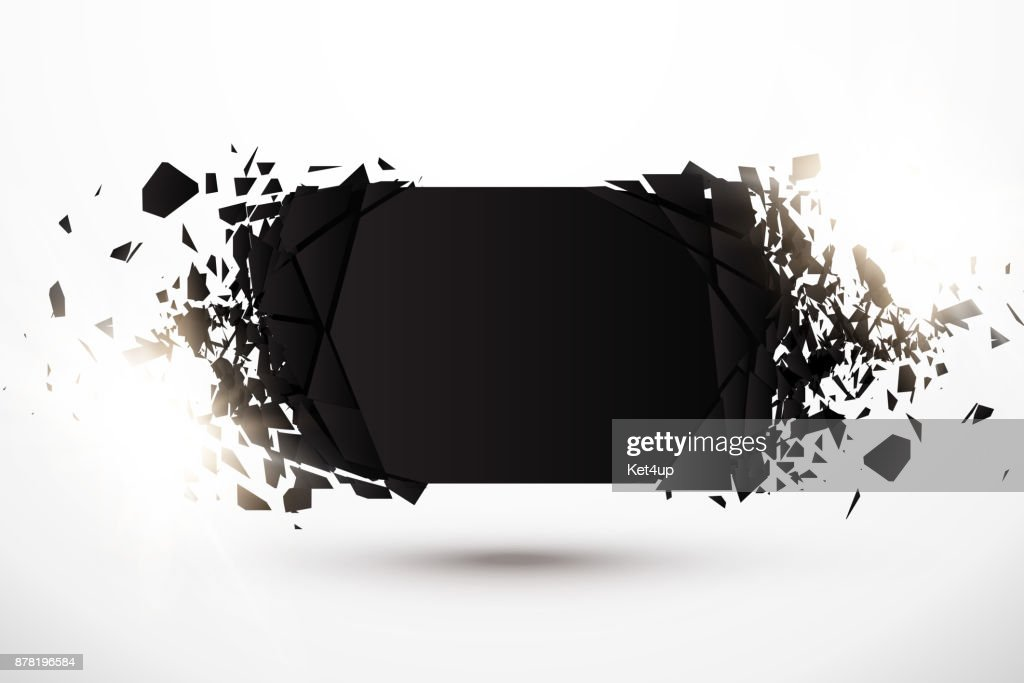 Blank Abstract Background. Black Banner with explosion effect and glow