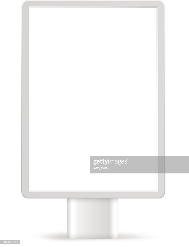 Blank advertising billboard on white background.
