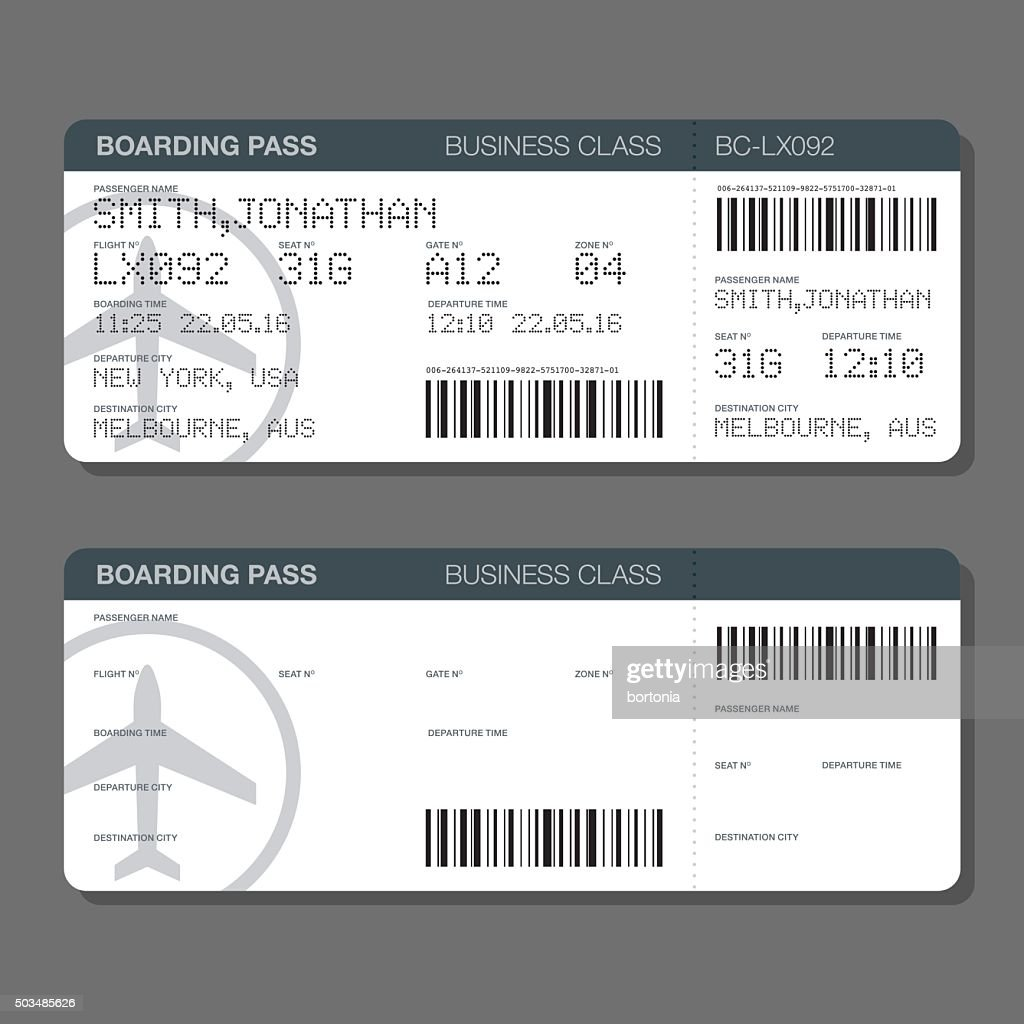 Blank Airport Boarding Pass Template Vector Art Getty Images