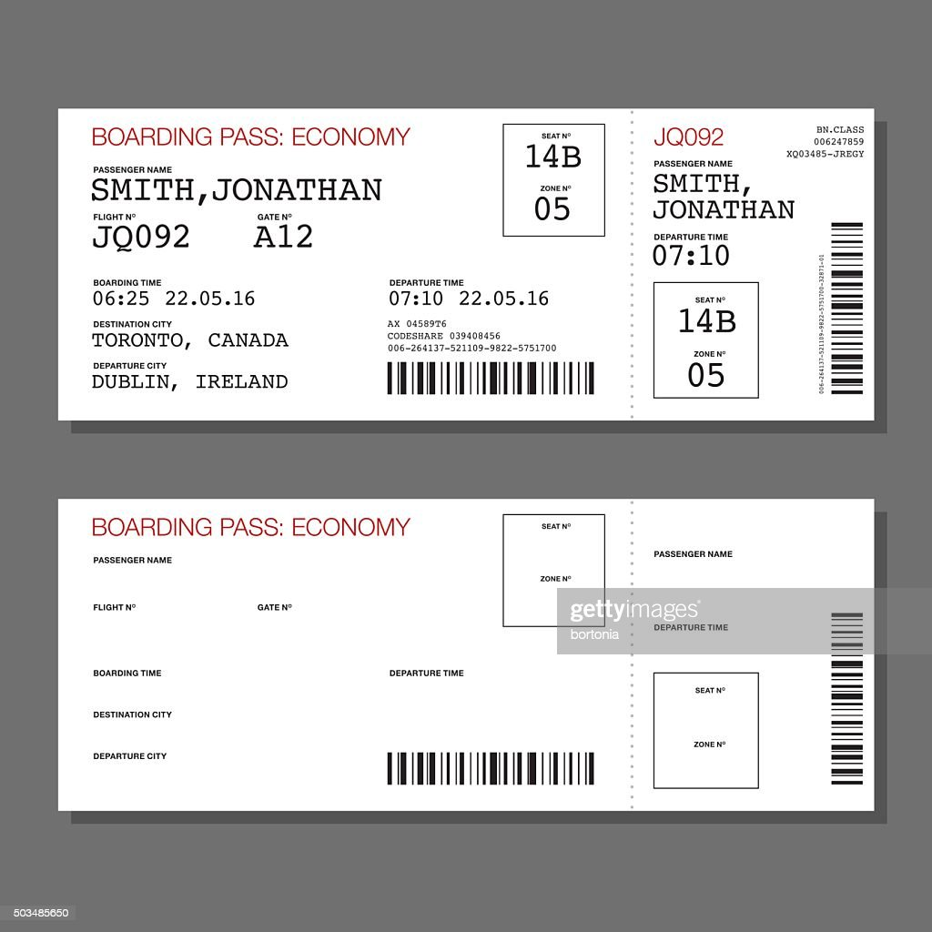 Blank Airport Boarding Pass Template Vector Art