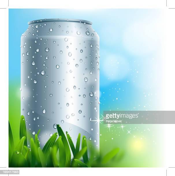 ilustrações, clipart, desenhos animados e ícones de alumínio em branco, com queda d'água - drink can