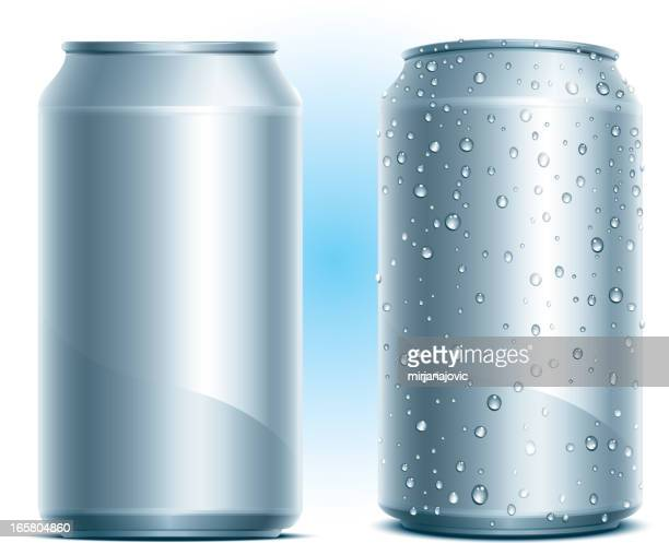 Blank aluminum cans that are dry or covered with water drops