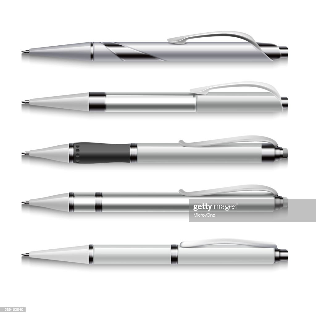 Blank and metallic vector pens template on white background