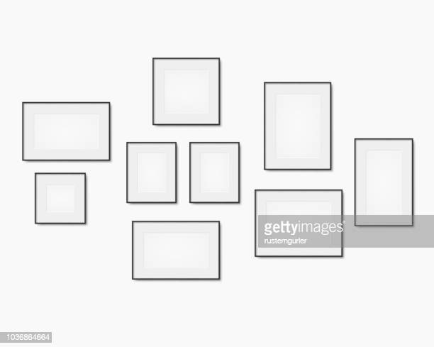 blank art frame set - wall building feature stock illustrations