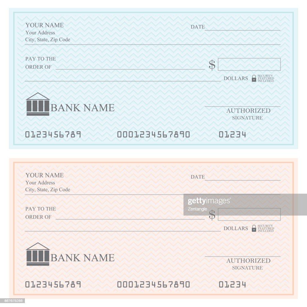 Blank bank checks or cheque book .