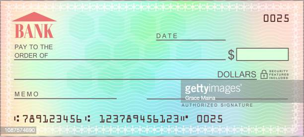 Blank bank multicolored check - Vector