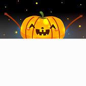 Blank banner and Halloween pumpkin