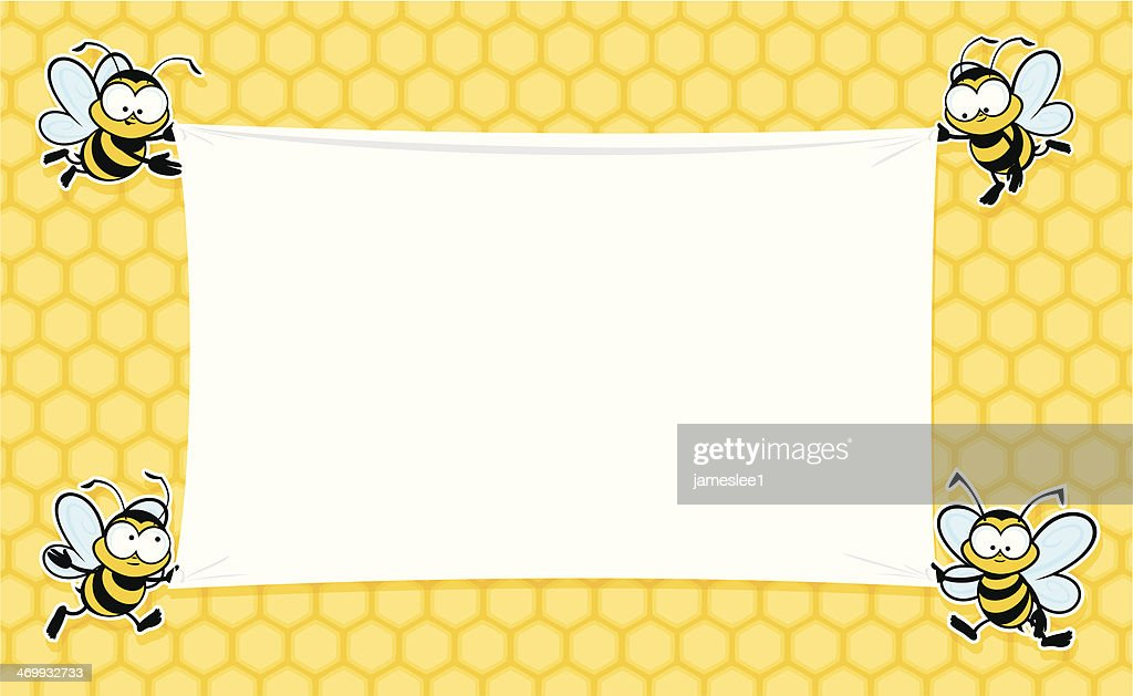 A blank banner decorated with bees : stock illustration