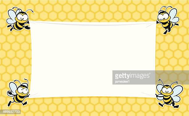 a blank banner decorated with bees - bumblebee stock illustrations, clip art, cartoons, & icons